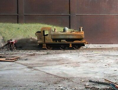 OO gauge scrapyard GWR Pannier Tank loco, heavily rusted and weathered