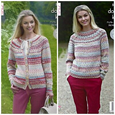 KNITTING PATTERN Ladies Lace Yoke Jumper & Cardigan Drifter DK King Cole 5305