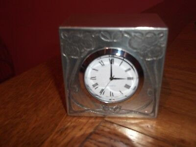 Small Charles Rennie Mackintosh Pewter Cube Clock With Motto