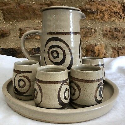 Abaty Stoneware Studio Pottery Welsh Coffee Set Coffee Pot / Six Mugs & Tray Ex