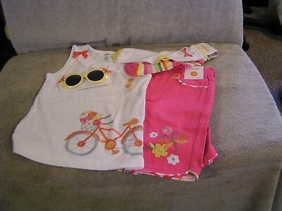 Gymboree Tea Time In The Afternoon Top & Shorts & Sunglasses & Socks New Size 7