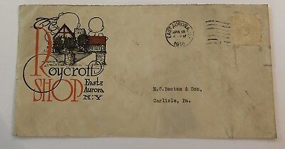 ROYCROFT arts and crafts ENVELOPE with great graphics and Roycroft emblem cancel