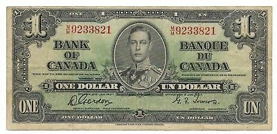 1937 BANK OF CANADA KGVI $1 **Gordon & Towers** Prefix M/M  Nice Note--