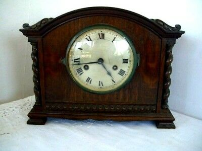 Gustav Becker 1926 Mantel Clock in Barley Twist Wooden Case Working P14 movement