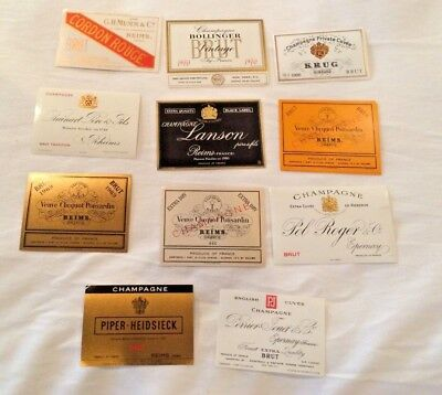 LOT 11 DIFFERENT Vintage Wine Champagne  Labels   990