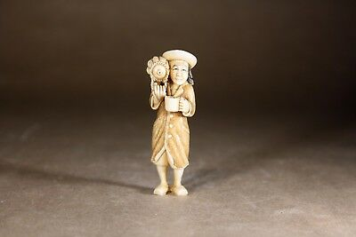 Antique Japanese Bovine Bone Carved Netsuke Street Seller - Beautiful Quality!