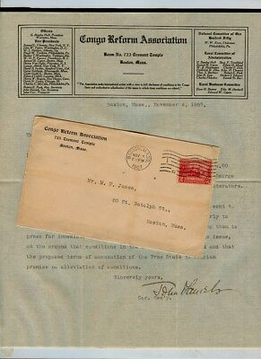 1907 Congo Reform Association, 723 Tremont, Boston TLS letterhead John Daniels