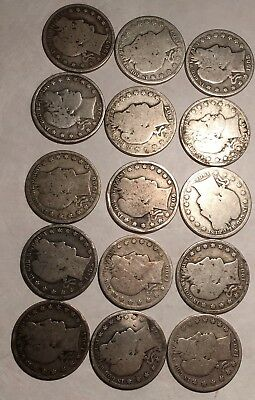 Lot Of (15) Barber Half Dollars - 1905/1906/1907/1908 - See Mints Below