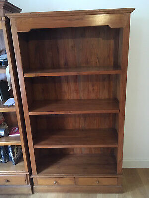 Pair of solid teak bookcases with base drawers, good condition
