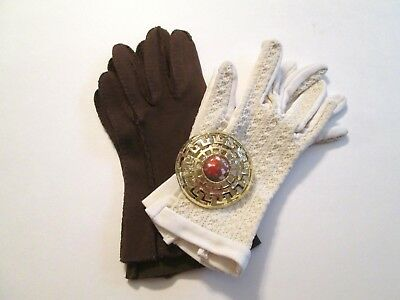 Fall Colors Accessory Lot Vtg 1960s Womens Brown White Gloves Large Round Brooch