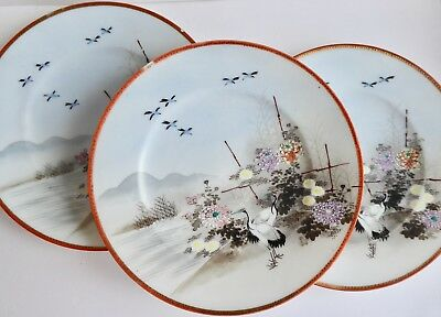 Vintage/Antique handpainted china plates x 3 Japanese or Chinese