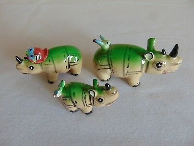 Three Vintage Rhinos Rhinosaurus Mini Figurines Hand Painted So Cute! Free Ship