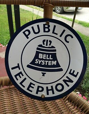 "Public Telephone Bell System Vintage Advertising Sign Porcelain & Steel 9"" Diam."