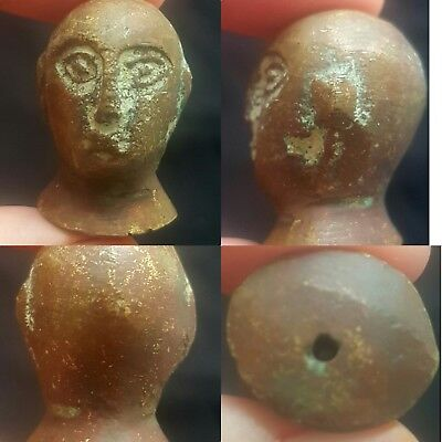 Medieval Old pure Bronze Old Unique Face Head Rare Nice Bead