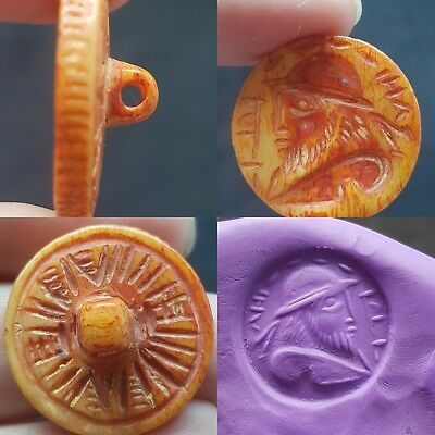 Rare antique Old Bone Carved Unique Button #GL