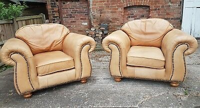2 Distressed Aniline Leather Thomas Lloyd  Club Chairs Armchairs Chesterfield
