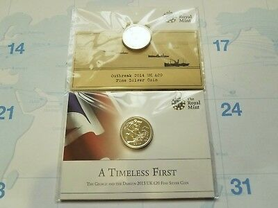 2013 Uk George And The Dragon & 2014 Uk Outbreak Silver Coins