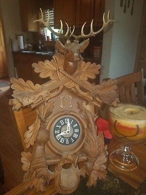 Vintage 8 Day Regula Black Forest Hunter's Cuckoo Clock Parts Or Repair Complete
