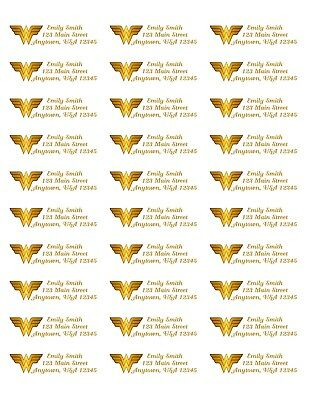 WONDER WOMAN RETURN ADDRESS Labels~Sheet of (30) labels~Personalized Gift!!