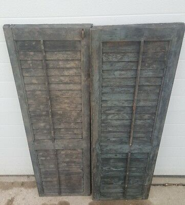 Vintage Antique Wood House 2 Shutters Louvered Old 13x44 One pair wedding decor