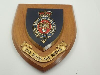 Vintage Carved Crest Shield  Army  THE BLUES AND ROYALS