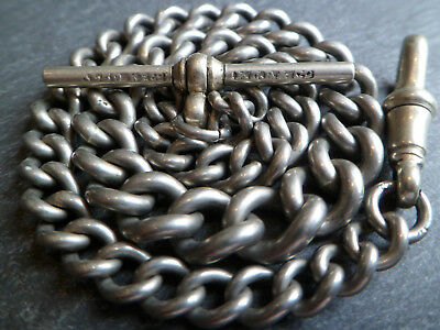 Antique Chunky Graduated Silver Tone Albert Pocket Watch Chain 31.5cm 30 grams