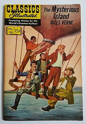 CLASSICS ILLUSTRATED #34 ~ The Mysterious Island Jules Verne ~ 06/66 ~ HRN 167