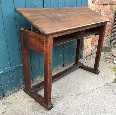 Antique Oak Adjustable Clerks Office Desk ~ Sloped Architects Desk ~ Childs Desk