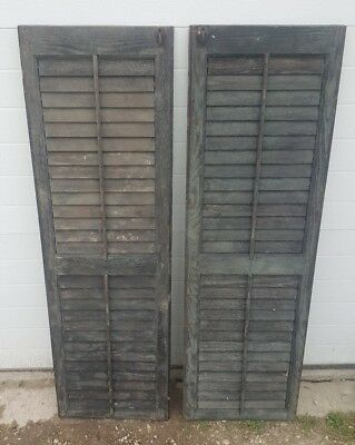Vintage Antique Wood House 2 Shutters Louvered Old Farmhouse 15x50 wedding decor