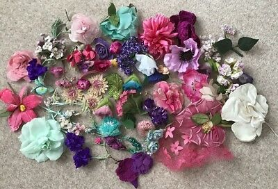 Job Lot of Vintage Millinery Hat Trims Flowers Haberdashery