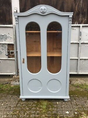 Vintage French Painted Pine Armoire Wardrobe Cupboard with Glass Panels