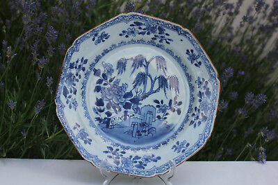 Antique Chinese Export Blue White Plate Qianlong Oriental Tree Garden #6