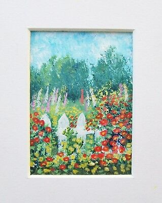 Original The White Picket Fence Landscape Miniature Aceo Painting
