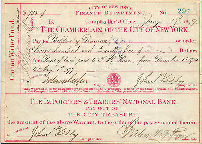AN INTERESTING 1879 Croton Water Fund New York Check / Warrant for Rent of  Land