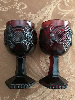 Set Of 2 Vintage Avon Ruby Red Glass Pedestal Goblets 5 1/2 Inch Tall