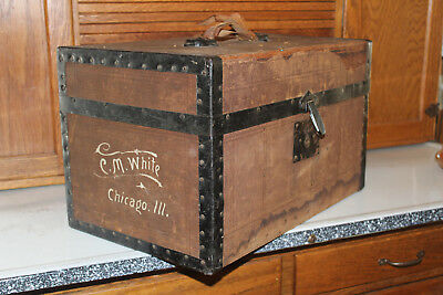 ANTIQUE 1800's VICTORIAN CHILDS/DOLL TRUNK w/KEY!  SIGNED C.M.White Chicago,IL