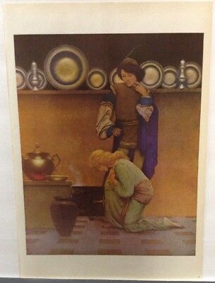Vintage Prints Maxfield Parrish Lady Violet & The Knave Examining The Tart