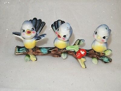 Cute Vintage Ceramic Bluebirds on cherry branch (possibly Lefton or Norcrest)