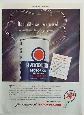 1944 Texaco dealers Havoline motor oil can helps for wartime driver's ad