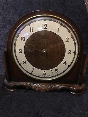 Vintage Smiths 4 Jewels Eight Day Oak Mantel Clock c1950's