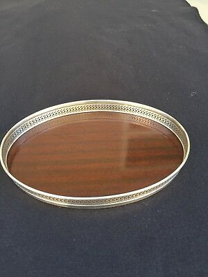 Vintage Mahogany Wood Tray With Sterling Gallery