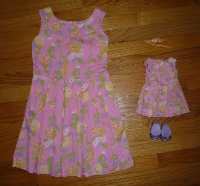 American Girl Dress for Girls 7 w/ matching Doll Outfit Flower Garder Outfit II