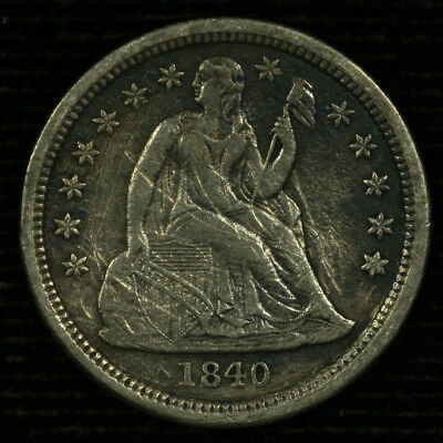 Liberty Seated Silver Dime. 1840 P. EF Details Drapery. Lot # 9018-85-1840