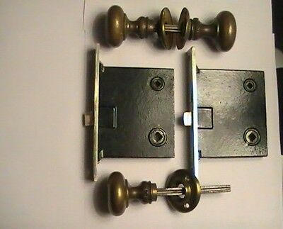 Vintage Corbin Solid Brass Door Knobs & Mortise Locks