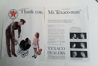 1937 Little Girl doll thank you Mr Texaco gas dealers man ad