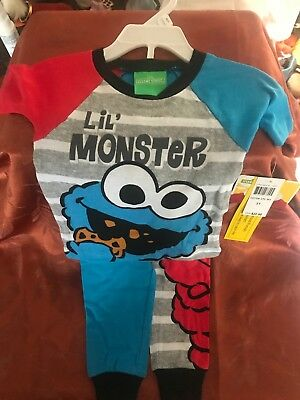 SESAME STREET ELMO & COOKIE MONSTER Toddler Boys Snug Fit Pajamas SZ 3T