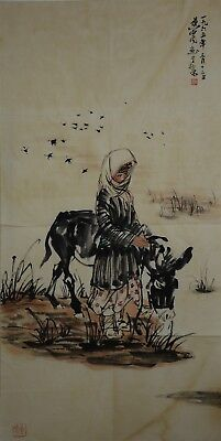 Fine Large Chinese Painting Signed Master Huang Zhou Rare By3801