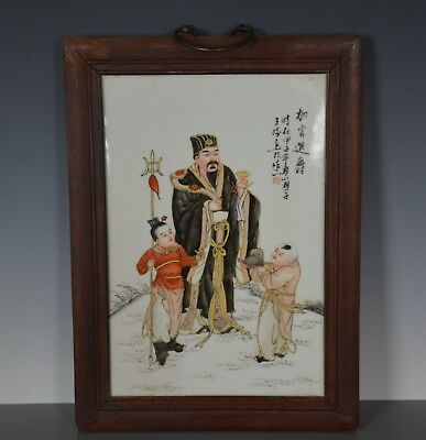 Fine Antique Chinese Porcelain Plaque Famille Rose Marked Master Wang Qi Un8472