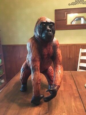 Vintage Leather Gorilla Statue- Hand Made in India - Excellent Condition