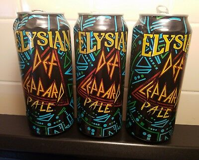 """Elysian Brewing 3 """"dinged up"""" Def Leppard pale ale beer can's"""